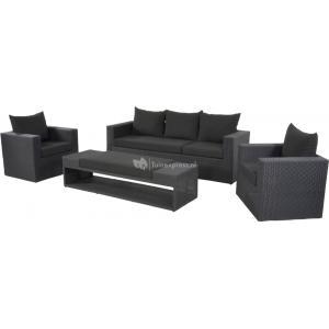 Dagaanbieding - Roma loungeset zwart dagelijkse koopjes