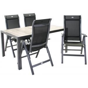 SenS line Bergamo aluminium tuinset 160cm met verstelbare stoelen