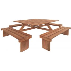 Hardhouten picknicktafel Vierkant 2 colli